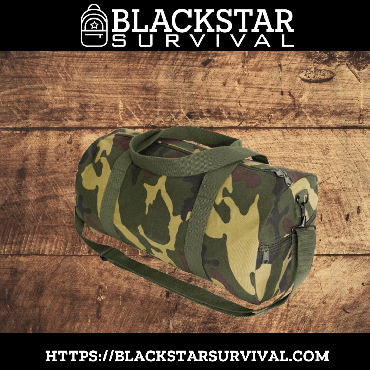 Canvas Shoulder Duffle Bag - 19 Inch - Woodland Camo