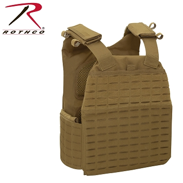 Rothco Laser Cut MOLLE Plate Carrier Vest - Coyote Brown
