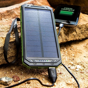 10000 MAH Solar Charger And Power Bank With Flashlight