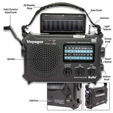 Kaito Voyager Classic Solar Radio - Five-Way Powered Emergency Radio