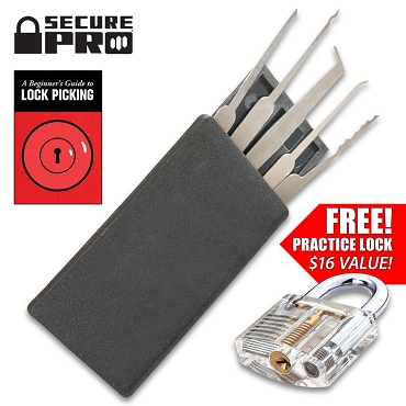 Secure Pro Credit Card-Sized Lock Picking Set And FREE Practice Padlock