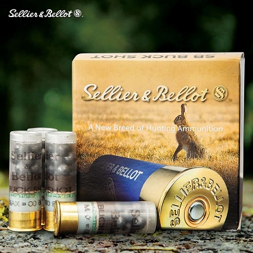 "Sellier & Bellot 12-Gauge 00 Buckshot Shells - 25-Count - 2 3/4"", 9 Lead Pellets"