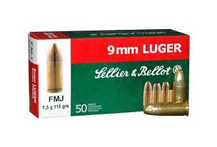 Sellier & Bellot - 9mm - 115 Grain - FMJ - 50 Rounds