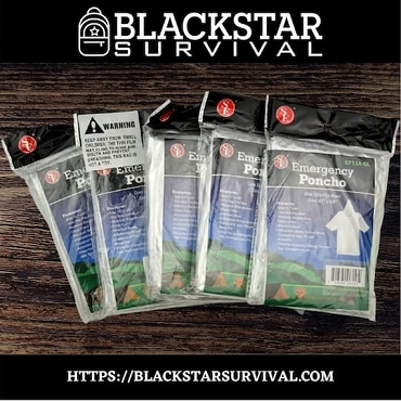 Clear Emergency Poncho with Full Sleeves and Adjustable Hood (Pack of 5) - BlackStar Survival