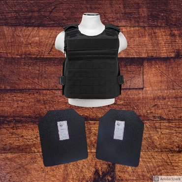 11x14 Level III / AR500 Body Armor and Plate Carrier Package - Black w/ Base Coated Plates