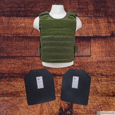 11x14 Level III / AR500 Body Armor and Plate Carrier Package - Green w/ Base Coated Plates