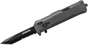 Schrade® Viper® Out The Front Assisted Opening Knife Partially Serrated Double Edged Tanto Blade Aluminum Handle