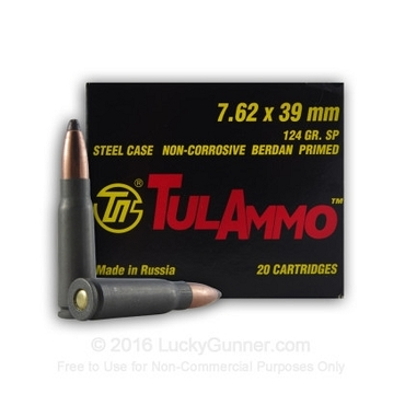 Tula 7.62x39mm 124 gr SP Hollow Point 100 rounds