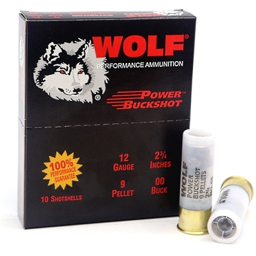 Wolf Ammunition - 12 Gauge - #00 Buck - 9 Pellet - 2-3/4'' - 1260 FPS -10 Rounds