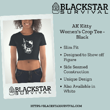 AK Kitty Women's Crop Tee - Black
