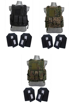 4 Pc Level III+ / AR500 Body Armor Bearcat Molle Vest - Base Coated Plates