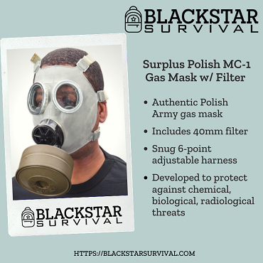 Surplus Polish MC-1 Gas Mask w/ Free Filter & Basic Survival Guide