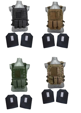 Level III / AR500 Body Armor Wildcat Molle Vest - Base Coated Plates