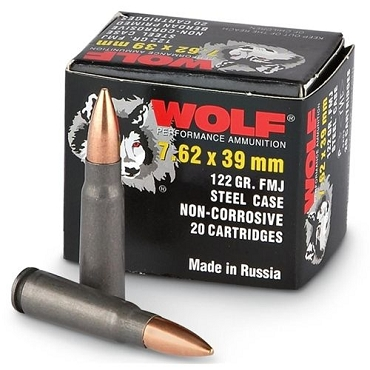 Wolf Ammunition - 7.62x39 - 122 Grain - FMJ - Wolf Performance - 20 Rounds