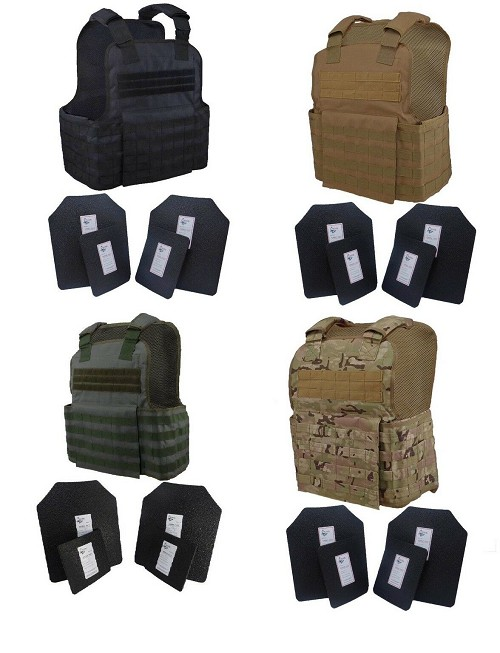 Level III / AR500 Body Armor MOLLE Muircat Vest - Spall Coated W/ Trauma Pads